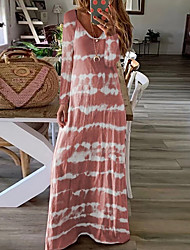 cheap -Women's Maxi T Shirt Dress - Long Sleeve Striped V Neck Blushing Pink Green Navy Blue Gray S M L XL XXL