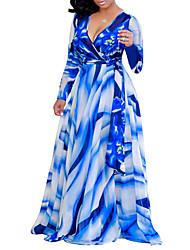 cheap -Women's Boho Street chic Shift Swing Maxi Dress - Floral Plaid Blue Red L XL XXL XXXL