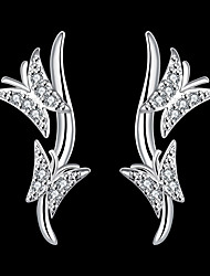 cheap -Women's Cubic Zirconia Earrings Geometrical Butterfly Stylish Silver Plated Earrings Jewelry Silver For Party Daily 1 Pair