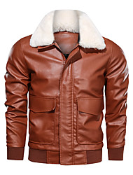 cheap -Men's Daily / Holiday / Going out Basic / Street chic Spring &  Fall / Winter Regular Leather Jacket, Solid Colored Rolled collar Long Sleeve PU / Polyester / Lamb Fur Fur Trim Black / Camel