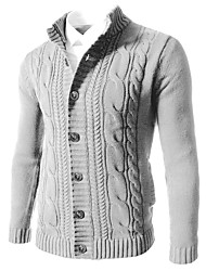 cheap -Men's Solid Colored Long Sleeve EU / US Size Cardigan Sweater Jumper, Round Neck Black / White / Blue US32 / UK32 / EU40 / US34 / UK34 / EU42 / US36 / UK36 / EU44