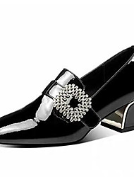 cheap -Women's Heels Chunky Heel Square Toe Rhinestone / Buckle Patent Leather British Spring / Fall & Winter Black / Blue / Party & Evening