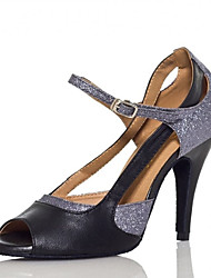 cheap -Women's Latin Shoes Heel Glitter Splicing Slim High Heel Silver Ankle Strap Sparkling Shoes / Performance