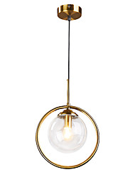 cheap -1-Light 15 cm Pendant Light Metal Glass Circle Electroplated Nordic Style 110-120V / 220-240V