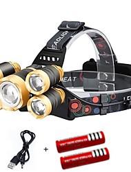 Недорогие -Налобные фонари Огни на кепку Фары для велосипеда 2000 lm Светодиодная лампа 5 излучатели 4.0 Режим освещения с батарейками и USB кабелем Портативные Защита от ветра Cool / Алюминиевый сплав