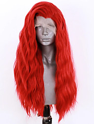 cheap -Synthetic Lace Front Wig Wavy Side Part Lace Front Wig Long Red Synthetic Hair 18-26 inch Women's Adjustable Heat Resistant Party Red