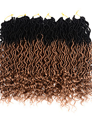 cheap -Ombre Hair Weaves / Hair Bulk Hair Care Twist Braids Curly Synthetic Hair 20 inch Hair Extension Hair weave Toupee Burgundy 6 Pieces Classic Easy to Carry 100% kanekalon hair Women's Daily Wear