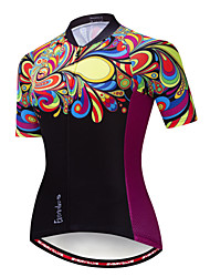 cheap -EVERVOLVE Floral Botanical Women's Short Sleeve Cycling Jersey - Black Bike Jersey Top Breathable Moisture Wicking Quick Dry Sports Cotton Polyster Lycra Mountain Bike MTB Road Bike Cycling Clothing