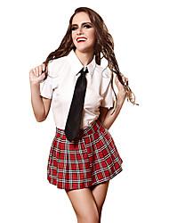 Недорогие -Жен. студент / Школьная форма Взрослые Секси униформа Косплэй Kостюмы Кофты Юбки пояс / Хлопковая ткань