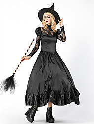 cheap -Witch Cosplay Costume Outfits Masquerade Adults' Women's Cosplay Halloween Halloween Festival / Holiday Cotton Polyster Black Women's Carnival Costumes