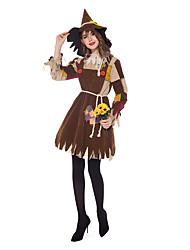 cheap -Country Girl Cosplay Costume Masquerade Adults' Women's Cosplay Halloween Halloween Festival / Holiday Cotton Polyster Brown Women's Carnival Costumes