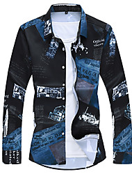 cheap -Men's Daily Business Shirt - Letter Black