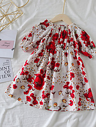 cheap -Kids Toddler Girls' Floral Above Knee Dress Red