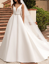 cheap -A-Line V Neck Court Train Satin Regular Straps Simple Plus Size Made-To-Measure Wedding Dresses with Beading 2020