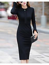 cheap -Women's Blue Black Dress Elegant Sheath Solid Colored S M