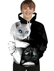 cheap -Kids Toddler Boys' Active Basic Black & White Cat Geometric Print Color Block Print Long Sleeve Hoodie & Sweatshirt White / Animal