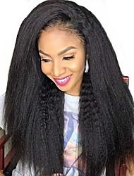 cheap -Human Hair Full Lace Wig Free Part style Brazilian Hair kinky Straight Black Wig 130% Density Women Women's Long Human Hair Lace Wig Clytie