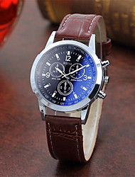cheap -Men's Bracelet Watch Quartz Stylish Leather Black / Brown Three Time Zones Casual Watch Cool Analog Casual Fashion - Black Black / White Black / Brown