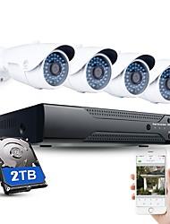Недорогие -jooan 4-канальная система видеонаблюдения NVR h.264 PoE 1080p видеовыход ip66 Водонепроницаемая IP-камера с 2 ТБ HDD NVR
