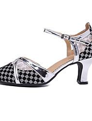 cheap -Women's Modern Shoes / Ballroom Shoes PU / Synthetics Heel Cuban Heel Customizable Dance Shoes Black / Gold / Black / Silver / Performance