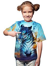 cheap -Kids Toddler Girls' Active Basic Tiger Geometric Print 3D Print Short Sleeve Tee Light Blue / Animal