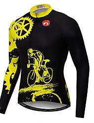cheap -21Grams Novelty Gear Men's Long Sleeve Cycling Jersey - Black / Yellow Bike Jersey Top UV Resistant Breathable Moisture Wicking Sports Winter Fleece Polyester Elastane Mountain Bike MTB Road Bike