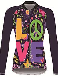 Недорогие -21Grams Мир и Любовь Жен. Длинный рукав Велокофты - Черный / зеленый Велоспорт Джерси Верхняя часть Сохраняет тепло Устойчивость к УФ Дышащий Виды спорта Зима 100% полиэстер / Эластичная