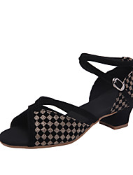 cheap -Women's / Girls' Dance Shoes Synthetics Latin Shoes / Modern Shoes Paillette Heel Thick Heel Gold / Blue / Silver