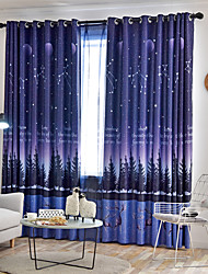 cheap -Two Panel Nordic Style Living Room Bedroom Children's Room Blackout Printing Curtain