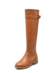 cheap -Women's Boots Knee High Boots Flat Heel Round Toe PU Knee High Boots Fall & Winter Black / Brown / Yellow