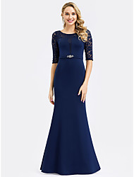 cheap -Mermaid / Trumpet Jewel Neck Floor Length Lace Formal Evening Dress with Crystals by LAN TING Express