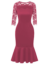 cheap -Women's Trumpet / Mermaid Dress - 3/4 Length Sleeve Solid Colored Lace Lace Trims Elegant Sophisticated Holiday Daily Wear Wine Black XS S M L XL
