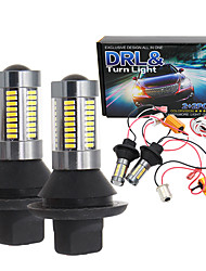 cheap -2pcs T20 7440 w21w ba15s 1156 p21w bau15s py21w 4014 66 SMD LED Bulbs DRL white turn yellow Turn Signal Light drl Error Free Canbus with Resistor 12v