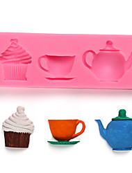 cheap -Teapot Cup afternoon Tea Cake Silicone Mold Sugar Chocolate Cake Decoration Tool Kitchen Baking Tools