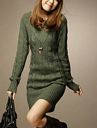 cheap -Women's Solid Colored Pullover Long Sleeve Sweater Cardigans V Neck Green Beige Gray