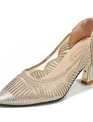 Недорогие -Жен. Обувь на каблуках На шпильке Заостренный носок Полиуретан Лето Черный / Золотой / Повседневные