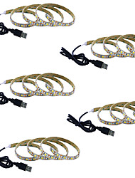Недорогие -1m Гибкие светодиодные ленты 60 светодиоды 5050 SMD 5 шт. Тёплый белый / Белый / Красный Водонепроницаемый / Для вечеринок / Декоративная 5 V
