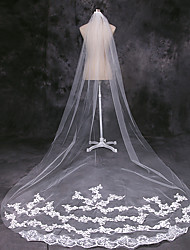 cheap -One-tier European Style Wedding Veil Cathedral Veils with Trim 110.24 in (280cm) Lace / Tulle / Mantilla