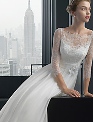 cheap -A-Line Bateau Neck Sweep / Brush Train Chiffon / Lace 3/4 Length Sleeve Sexy Plus Size Wedding Dresses with Lace 2020