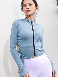 cheap -Women's Yoga Top Solid Color Yoga Gym Workout Top Activewear Breathable Moisture Wicking Quick Dry Stretchy