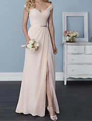 cheap -A-Line Off Shoulder Floor Length Chiffon Bridesmaid Dress with Sash / Ribbon / Split Front / Pleats