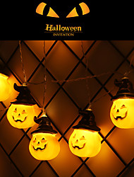 cheap -2m String Lights Pumpkin String Lights Halloween Decoration Lights With 10 LED Beads Outdoor Holiday Lighting String Decoration AA Batteries Powered 1pc