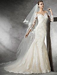 cheap -Mermaid / Trumpet V Neck Sweep / Brush Train Lace 3/4 Length Sleeve Made-To-Measure Wedding Dresses with Lace Insert 2020