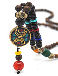 cheap -Women's Brown Pendant Necklace Necklace Bead Necklace Beaded Weave Vintage Trendy Ethnic Fashion Copper Wood Brown 75 cm Necklace Jewelry 1pc For Daily School Street Holiday Festival
