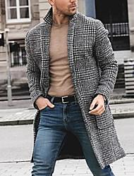 abordables -Homme Quotidien Basique Taille EU / US Longue Manteau, Pied-de-poule Col rabattu Manches Longues Polyester Noir