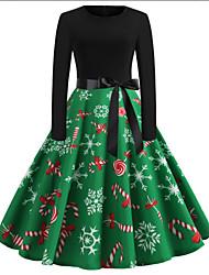 cheap -Women's Sheath Dress - Snowflake Green S M L XL