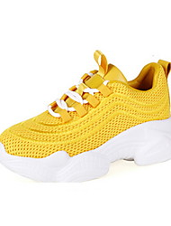 cheap -Women's Athletic Shoes Flat Heel Round Toe Synthetics Fall & Winter Black / White / Yellow