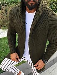 cheap -Men's Solid Colored Long Sleeve Cardigan Sweater Jumper, Hooded Army Green / Navy Blue US36 / UK36 / EU44 / US38 / UK38 / EU46 / US40 / UK40 / EU48