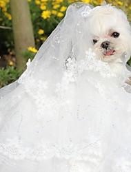 Недорогие -Собаки Платья Одежда для собак Белый Костюм Полиэстер Однотонный Свадьба M
