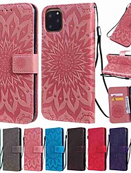 cheap -Case For Apple iPhone 11 / iPhone 11 Pro / iPhone 11 Pro Max Wallet / Card Holder / with Stand Full Body Cases Flower PU Leather / TPU